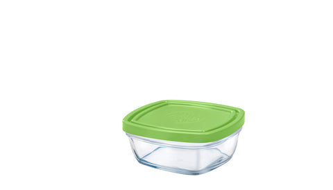 Duralex - Lys Square Stackable Bowl with Green Lid 11 cm (4 1/8 in)