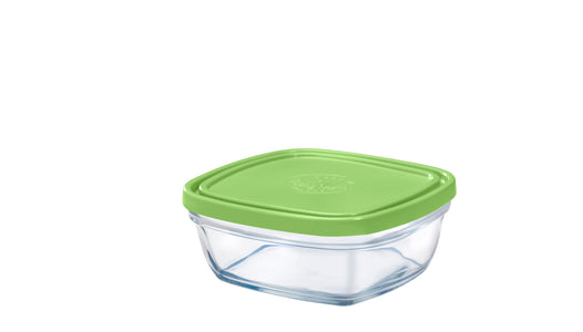 Duralex - Lys Square Stackable Bowl with Green Lid 14 cm (5 1/2 in)