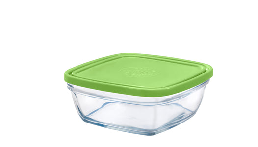 Duralex - Lys Square Stackable Bowl with Green Lid 17 cm (6 3/4 in)