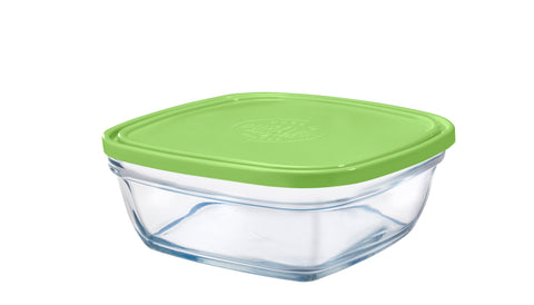 Image of Duralex - Lys Square Stackable Bowl with Green Lid 20 cm (8 1/8 in)