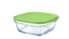 Duralex - Lys Square Stackable Bowl with Green Lid 20 cm (8 1/8 in)