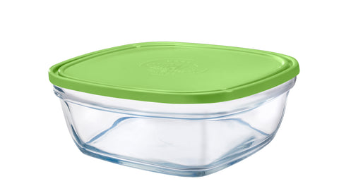 Duralex - Lys Square Stackable Bowl with Green Lid 23 cm (9 1/8 in)