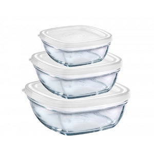 Duralex - Lys Square Stackable Bowl with White Lid, Set of 3 Sizes