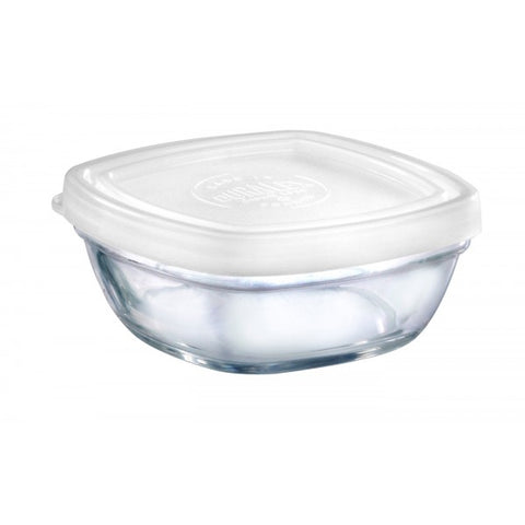 Image of Duralex - Lys Square Stackable Bowl with White Lid 9 cm (3 1/2 in)