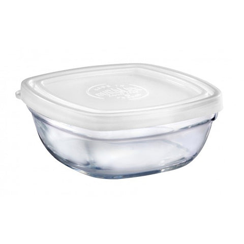 Duralex - Lys Square Stackable Bowl with White Lid 14 cm (5 1/2 in)