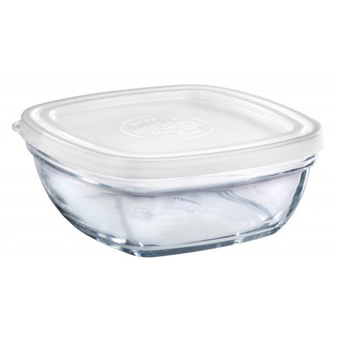 Image of Duralex - Lys Square Stackable Bowl with White Lid 17 cm (6 3/4 in)