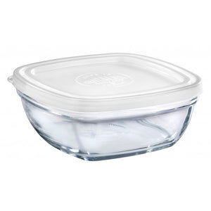 Duralex - Lys Square Stackable Bowl with White Lid 17 cm (6 3/4 in)