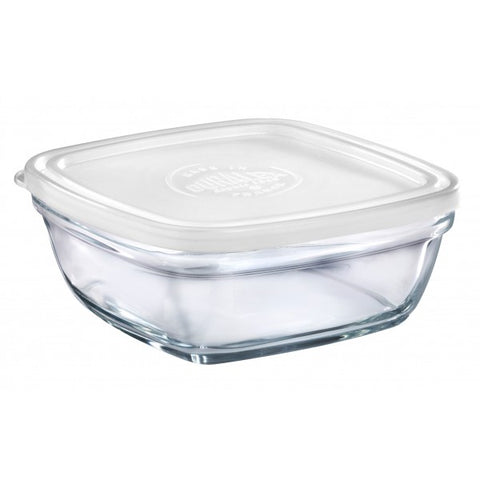 Duralex - Lys Square Stackable Bowl with White Lid 20 cm (8 1/8 in)