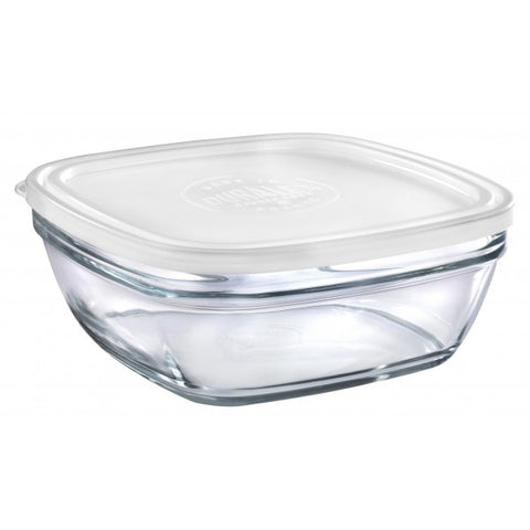 Image of Duralex - Lys Square Stackable Bowl with White Lid 23 cm (9 1/8 in)