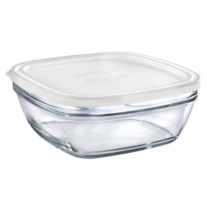 Duralex - Lys Square Stackable Bowl with White Lid 23 cm (9 1/8 in)