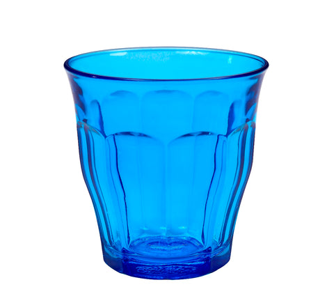 Image of Duralex - Picardie Colored Tumbler Blue Drinking Glass, 250 ml. 8 3/4 oz. Set of 6
