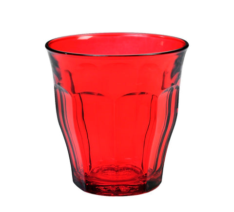 Image of Duralex - Picardie Colored Tumbler Red Drinking Glass, 250 ml. 8 3/4 oz. Set of 6
