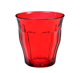 Duralex - Picardie Colored Tumbler Red Drinking Glass, 250 ml. 8 3/4 oz. Set of 6
