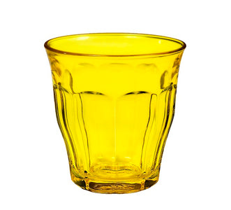 Duralex - Picardie Colored Tumbler Yellow Drinking Glass, 250 ml. 8 3/4 oz. Set of 6