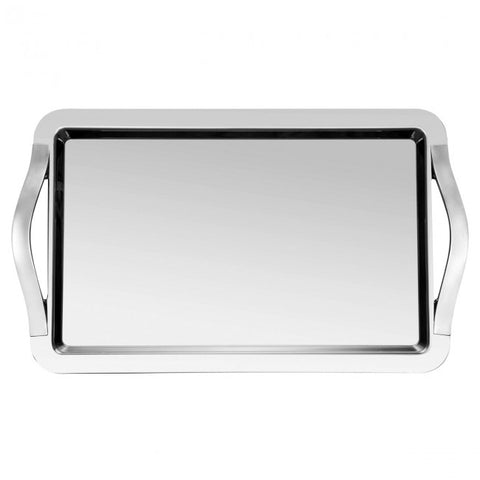 Guy Degrenne - Newport Rectangular Tray with Handles, Stainless Steel, 65X53 cm.