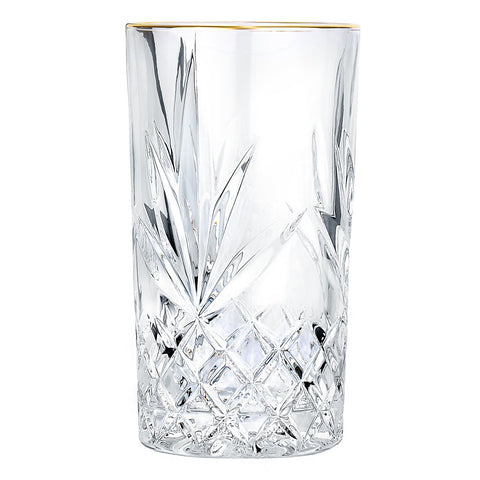 Ashford Non-Leaded Crystal Highball Glasses with Gold Rim 11 Ounces, Set of 4