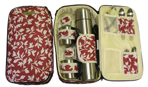 Vivid Allon Beverage Tote for 2, Red Floral
