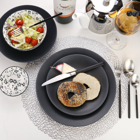 Granito Stoneware Black Pasta Bowls 8.6 Inches, Set of 4
