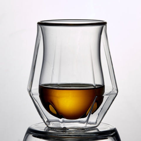 Image of Double Wall Diamond Whisky Glass 6.8 Ounces, Set of 2