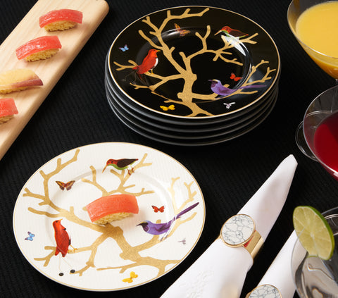 Paradis Accent Decorative Plates, Black with Colored Butterflies and Hummingbirds Plates for Display