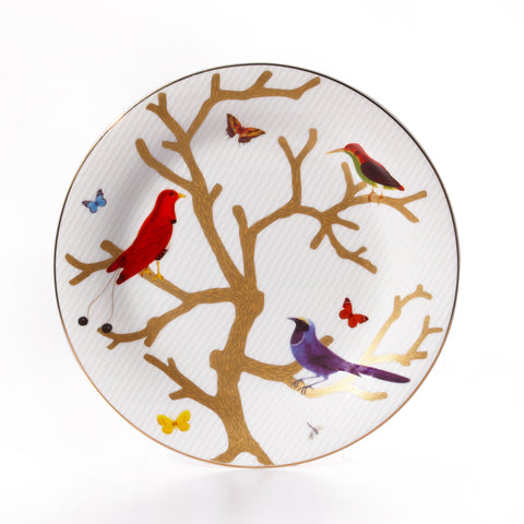 Paradis Accent Decorative Plates, White with Colored Butterflies and Hummingbirds Plates for Display