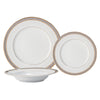 Brilliant - Royal D'oree 18 Piece Dinnerware Set, Service for 6 (White with Gold and Platinum Rim)