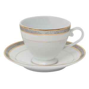 Brilliant - Royal D'oree Tea Cups and Saucers, 6 Sets (White with Gold and Platinum Rim)