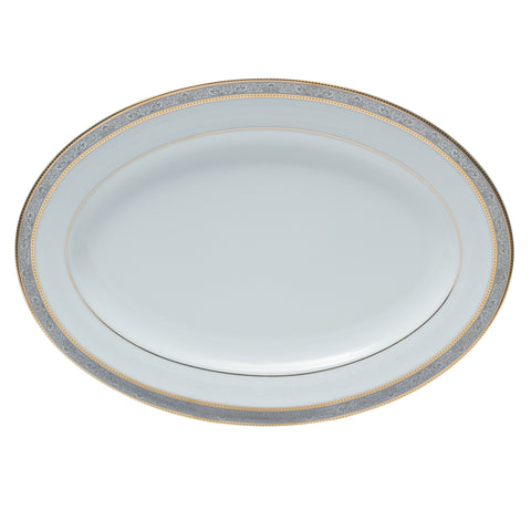 "Brilliant - Royal D'oree Serving Platter 13.8"" (White with Gold and Platinum Rim)"