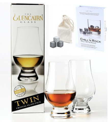 Image of The Glencairn Whiskey Glass set of 2 With 9 Chil 'N Rock Whisky Stones