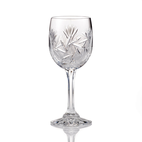 Image of Pinwheel Crystal Cut White Wine Glasses, 5.5 Ounces, Set of 4