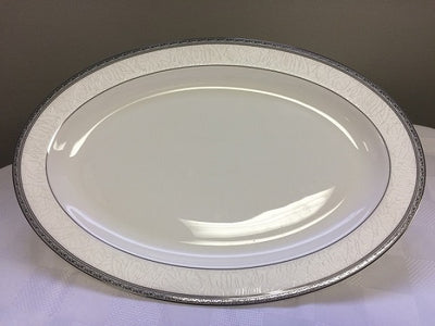 "Brilliant - Imperial Platine Serving Platter 14"" (White with Silver Rim)"