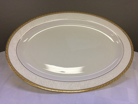 "Image of Brilliant - Imperial Gold Serving Platter 14"" (White with Gold Rim)"