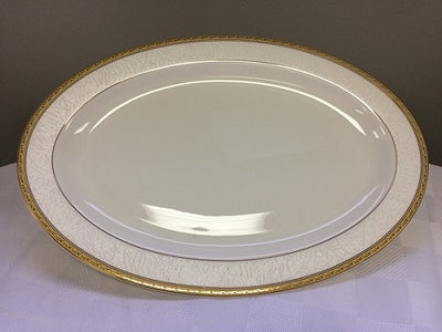 "Brilliant - Imperial Gold Serving Platter 14"" (White with Gold Rim)"