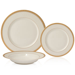 Brilliant - Imperial Gold 18 Piece Dinnerware Set, Service for 6 (White with Gold Rim)