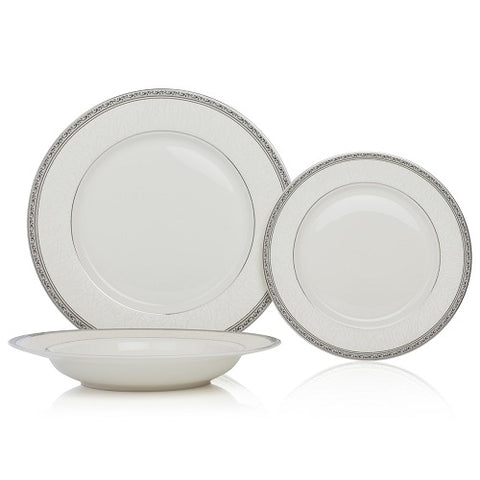 Image of Brilliant - Imperial Platine 18 Piece Dinnerware Set, Service for 6 (White with Silver Rim)