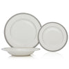 Brilliant - Imperial Platine 18 Piece Dinnerware Set, Service for 6 (White with Silver Rim)