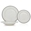 Brilliant - Imperial Platine Dinnerware and Serveware Set (White with Silver Rim)