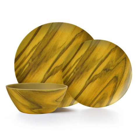 Image of Olivewood 6 Piece Melamine Dinnerware Set, Service for 2