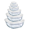 Duralex - Lys Stackable Bowl with White Lid, Set of 6 Sizes