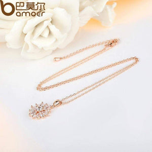BAMOER Hot Sell Gold Color Flower Necklaces Pendants with High Quality Cubic Zircon For Women Birthday Gift JIN024 - Worldwide Shipper