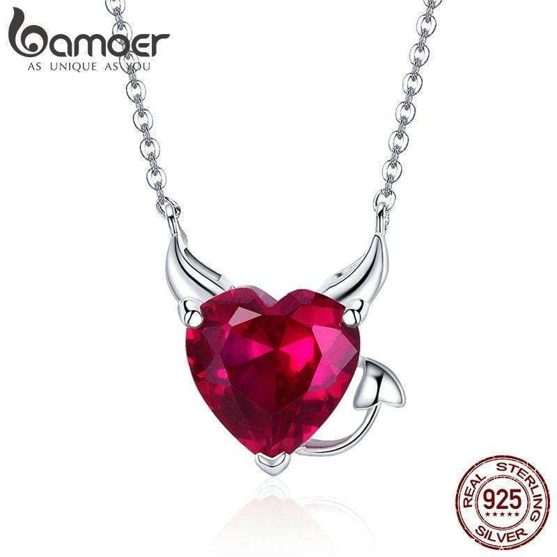 BAMOER New Collection 100% 925 Sterling Silver Devil Wings Red CZ Necklaces Pendant For Women Fashion Silver Jewelry SCN286 - Worldwide Shipper