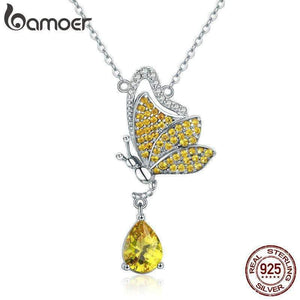 BAMOER New Trendy 100% 925 Sterling Silver Sparkling Dancing Butterfly Pendant Necklaces Women Sterling Silver Jewelry SCN241 - Worldwide Shipper