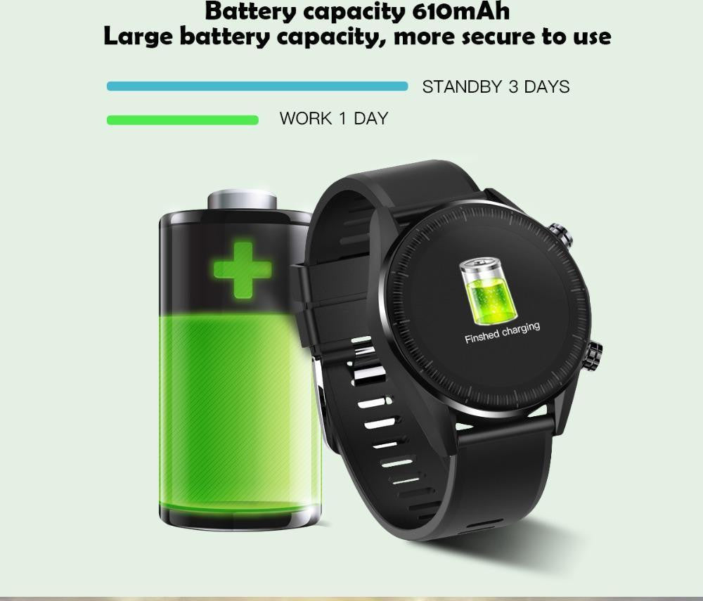 LEMFO KC05 2019 New 4G Smart Watch Men Android 7.1.1 Quad Core GPS 5MP Camera 610Mah Battery Replacement Strap Waterproof Watch - Worldwide Shipper