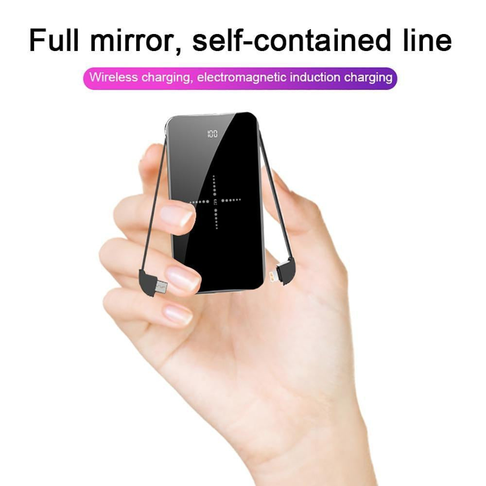 LEMFO Mini Power Bank 8000mah LCD Mirror Screen 2.1A Fast Charging 2 in 1 Built-in Cable Wireless Charger Powerbank 8000 Mah - Worldwide Shipper