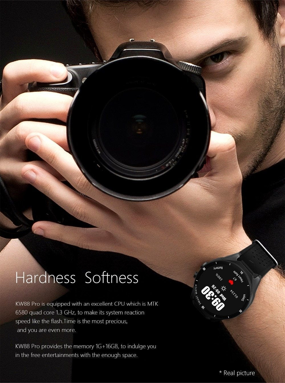 Smartwatch+earphone/set 3G WIFI GPS 16GB/ROM 1GB/RAM 2MP camera Android 7.0 Smart watch men connected for xiaomi iphone whatsapp - Worldwide Shipper
