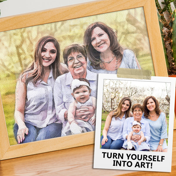 Personalized watercolor portrait print in wooden frame. With photo Polaroid of family four generations
