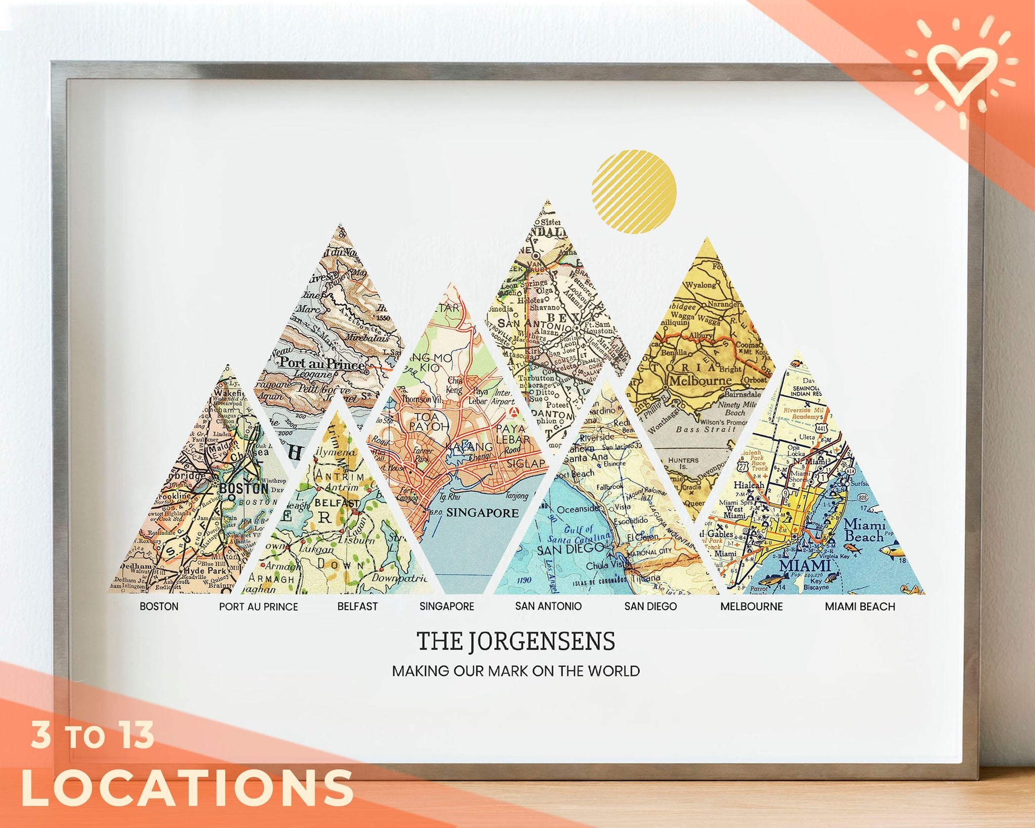 A personalized adventure map print with eight triangular vintage map sections in metal frame
