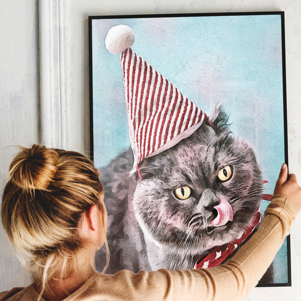 Custom pet portrait watercolor print of cat wearing christmas hat on blue hues background