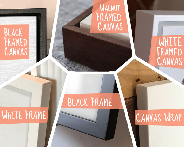 a mosaic of product photos with various framing options available