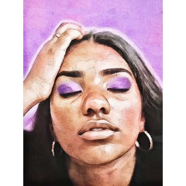 customized watercolor art print featuring woman's face portrait on purple hues background